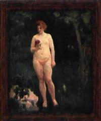 nu féminin dans un jardin by alfred roll