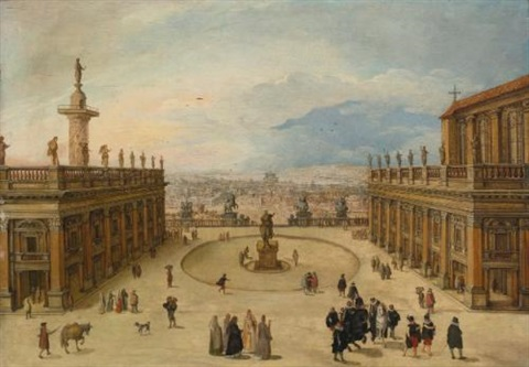 a view of the campidoglio rome by louis de caullery