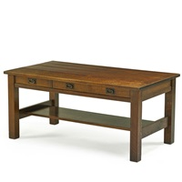 three-drawer library table by gustav stickley
