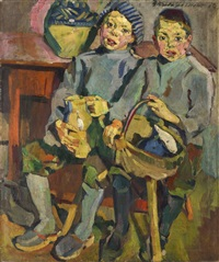 a portrait of two boys by bernhard kretzschmar