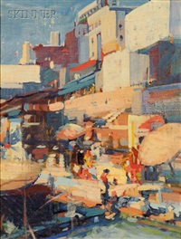 abstract view of a seaside town by charles f. quest