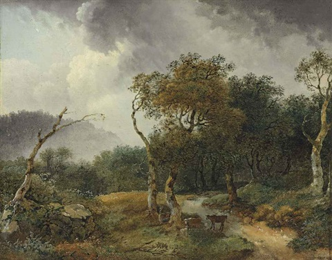 a wooded landscape with milkmaids and their cattle sheltering from a shower by jean honoré fragonard