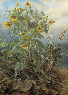 sonnenblumen und malven by joszi arpad koppay
