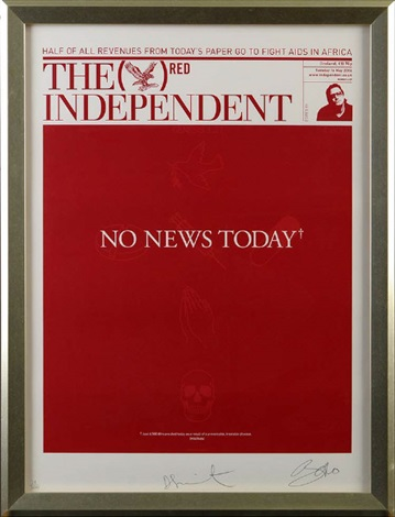 no news today the red independent front page by damien hirst
