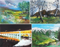 landscapes (4 works) by vanecha roudbaraki