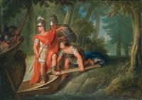 szene aus tassos rinaldo und armida. carlo und ubaldo schiffen sich ein, um rinaldo zu überreden, armida zu verlassen by vinzenz fischer