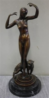 art deco bronze figure of a dancer with lioness by paul philippe