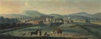 a view of the ruined westby hall, yorkshire, with a hunting party in the foreground by robert griffier