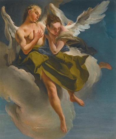 two angels in flight by giovanni battista tiepolo
