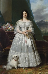 portrait of a woman with a fan and a dog by raymond auguste quinsac monvoisin
