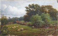 sheep in a field (+ children by a stream; pair) by william samuel jay