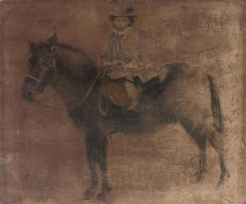 a child on a horseback by boris zaborov