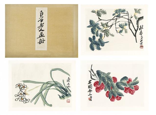 flowers (album w/9 works) by qi baishi