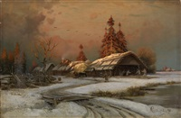 village scene in winter by petr alexanderovich sukhodol'sky