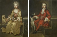 a gentleman and a lady (a pair of portraits) by herman verelst