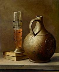 stillleben mit einem steinkrug und einem bierglas by harmen van steenwyck