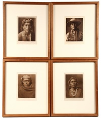 nova-walpi; pukimanstula-spokan; a zuni man; a zuni governor (4 works) by edward sheriff curtis