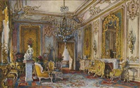 interior of winter palace, st. petersburg; fourth private apartment (+ interior of winter palace, st. petersburg; salon of the imperatrice; 2 works) by eduard hau