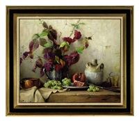 still life of a pitcher holding autumn leaves and a pomegranate and grapes on a ledge by robert chailloux