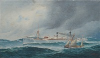portrait of the steamship helene menzell with a pilot boat by john henry mohrmann
