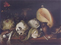 still life of cauliflower, leeks, a pumpkin, garlic, flowers, a knife, a stoneware jug and urn, with a mortar and pestle upon a table by antonio de pereda y saldago