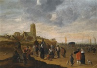 a view of the beach at scheveningen by cornelis beelt