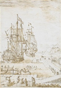 a harbour view with figures on the quay and two ships at anchor beyond by lievin cruyl