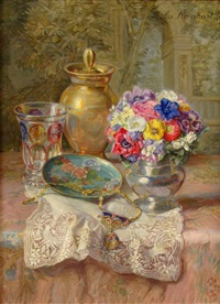 still life with flowers and pendant by lea reinhart