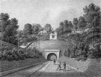 tunnel bei maulbronn mit den bauhütten by eberhard emminger