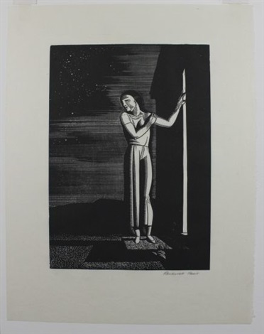 starry night (+ communing with nature, 1934, lithograph, lrgr; 2 works) by rockwell kent