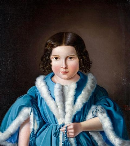 portrait of a young girl wearing a fur trimmed blue jacket by heinrich paul