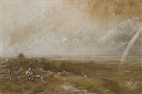 child's hill looking towards harrow with a rainbow by john constable