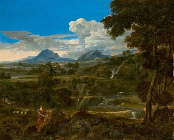 personnage portant une inscription sur un rocher dans un paysage classique by cornelis huysmans