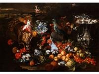 stilleben mit blumen, früchten, prunkgeschirr und papagei by michelangelo di campidoglio