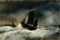 sailboat on a rough sea by johan hendrik van ieperen