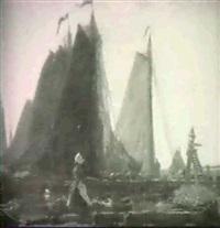 dutch fishing boats in harbour by edwin harold glasbey