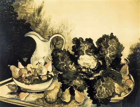 nature morte à la cruche et aux fruits by albert saverys