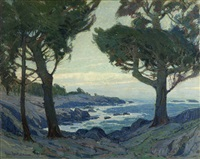 central california bay with cypress trees by paul lauritz