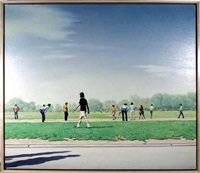 soccer players in central park by hilo chen