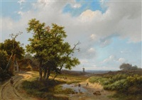 travellers in an extensive summer landscape by marianus adrianus koekkoek
