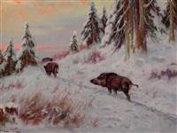 wildschweine auf dem winterpfad by heinz roder
