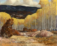 quaking aspens in autumn by carl von hassler