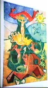 vaggrelief av keramik med dekor av undervattenslandskap med sjojungfrur, snackor ovh sjostjarnor by amaral