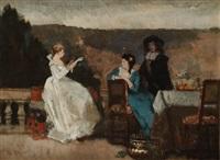 die vorleserin - zwei damen und ein herr auf dem balkon by paul preyer