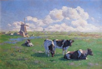 cows with windmill by johannes wilhelm van der heide