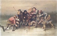 winter scene with children playing bandy by john ritchie