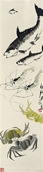 鱼虾蟹图 (fish, shrimps and crabs) by qi baishi