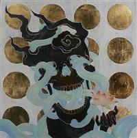 skull with lotus by yoskay yamamoto