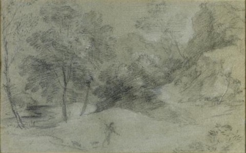 hilly wooded landscape with figure and stream by thomas gainsborough