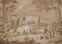 a shepherd boy with his flock by conrad martin metz